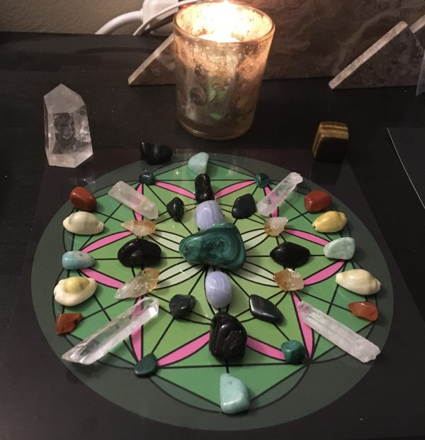 Crystal Money Finances energy Healing Candle & Grid
