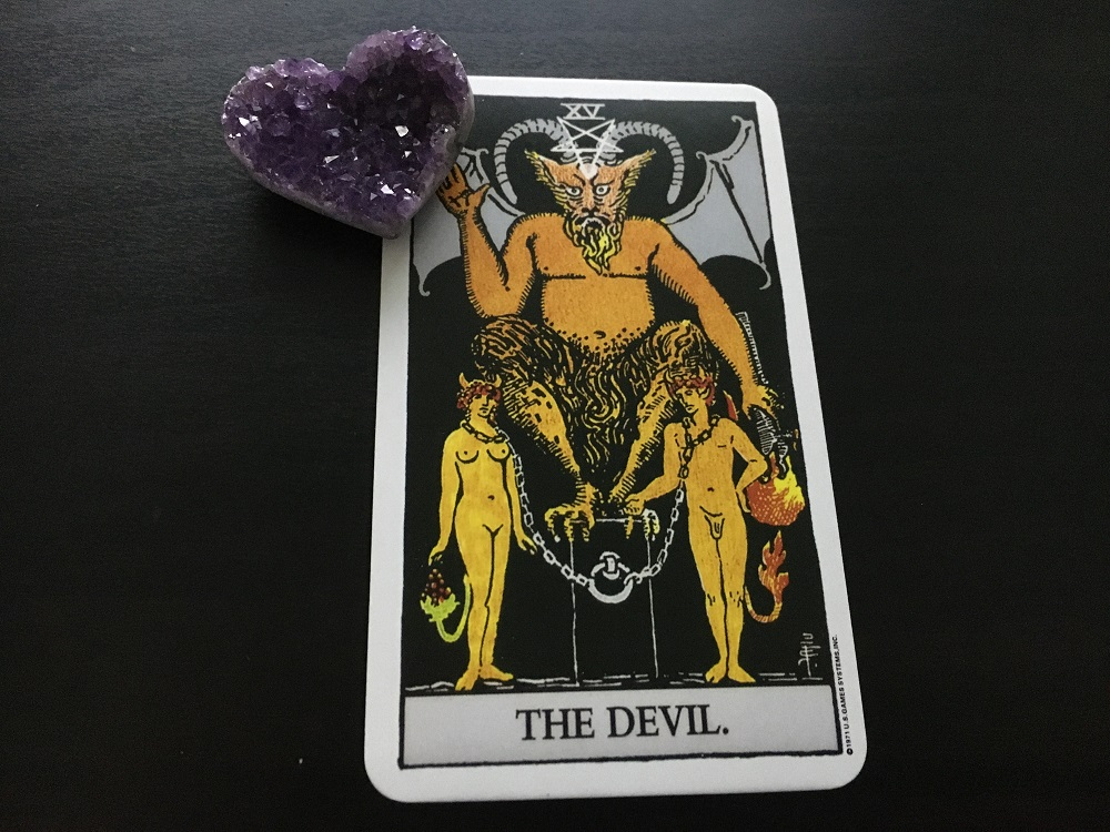 devil tarot card reading amethyst