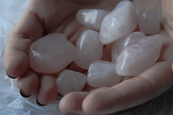 rose quartz tumbled stones handful