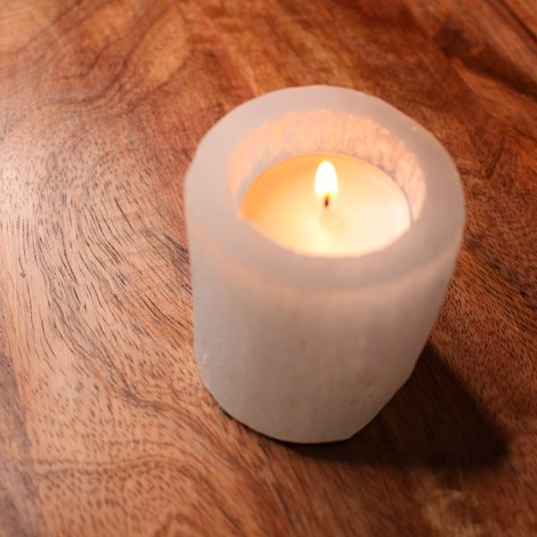 selenite candleholder rough stone decor